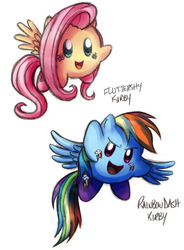Size: 642x874 | Tagged: safe, artist:maraphy, artist:marraphy, fluttershy, rainbow dash, crossover, duo, kirby, kirby (character), kirby fluttershy, kirbyfied, simple background, smiling, species swap, spread wings, white background, wings