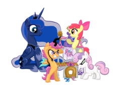 Size: 1000x750 | Tagged: apple bloom, artist:enati-ora, cutie mark crusaders, princess luna, safe, scootaloo, simple background, sweetie belle, transparent background