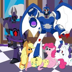 Size: 1214x1219 | Tagged: applejack, cyclonus, fluttershy, pinkie pie, rarity, safe, scourge, transformers