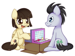 Size: 1200x895   Tagged: safe, artist:solar-slash, lucky clover, wild fire, female, game, luckyfire, male, shipping, sitting, straight