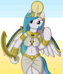 Size: 485x563 | Tagged: alicorn, anthro, arm hooves, artist:tg-0, breasts, clothes, curvy, egyptian, khopesh, princess, princess celestia, safe, skirt, sword, unguligrade anthro