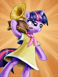 Size: 900x1200 | Tagged: artist:kp-shadowsquirrel, bipedal, birthday dress, clothes, dress, gramophone, phonograph, pony, record player, safe, solo, standing, twilight sparkle