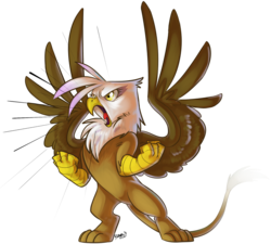 Size: 1000x898 | Tagged: angry, artist:php27, bipedal, gilda, griffon, majestic, rage, safe, signature, simple background, solo, spread wings, transparent background, wings, yelling