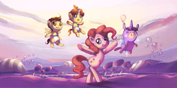 Size: 1400x700 | Tagged: artist:karzahnii, balloon, balloonicorn, bipedal, meet the pyro, parody, pinkie pie, pony, pound cake, pumpkin cake, safe, team fortress 2, twilight sparkle