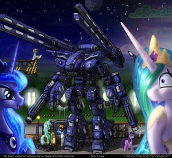 Size: 1024x943 | Tagged: safe, artist:foxi-5, dj pon-3, lyra heartstrings, princess celestia, princess luna, vinyl scratch, alicorn, earth pony, pony, unicorn, :o, artillery, bipedal, clothes, cute, eyes on the prize, female, giant robot, grin, hard hat, hat, lab coat, lunabetes, male, mare, mecha, open mouth, railgun, sitting, smiling, speechless, squee, stallion, starry eyes, waving, weapon, wide eyes, wingding eyes
