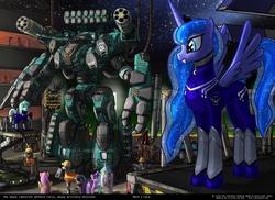 Size: 1024x747 | Tagged: safe, artist:foxi-5, fluttershy, lyra heartstrings, princess celestia, princess luna, twilight sparkle, artillery, giant robot, mecha
