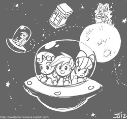 Size: 800x750 | Tagged: apple bloom, artist:johnjoseco, cartographer's cap, cutie mark crusaders, derpy hooves, female, grayscale, hat, mare, monochrome, moonstuck, pegasus, pony, princess luna, safe, scootaloo, space, sweetie belle, tardis, ufo, woona