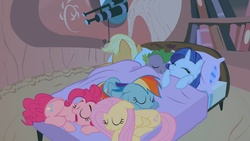 Size: 1280x720 | Tagged: applejack, artist:no1cool, bed, fluttershy, pinkie pie, rainbow dash, rarity, safe, sleeping, sleepover, spike