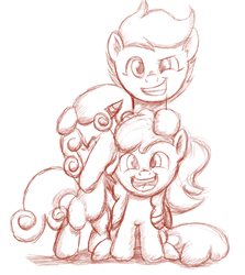 Size: 479x538 | Tagged: apple bloom, artist:paucity-luxuriance, cutie mark crusaders, safe, scootaloo, sketch, sweetie belle