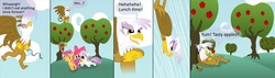 Size: 2000x571 | Tagged: apple bloom, artist:cgeta, bait and switch, comic, cutie mark crusaders, gilda, griffon, safe, scootaloo, sweetie belle