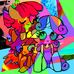 Size: 400x400 | Tagged: ambiguous facial structure, anthro, apple bloom, artist:njeekyo, cutie mark crusaders, psychedelic, safe, scootaloo, sweetie belle