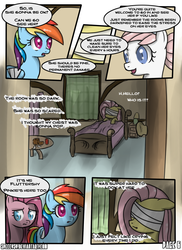 Size: 800x1100 | Tagged: safe, artist:speccysy, fluttershy, nurse redheart, pinkie pie, rainbow dash, comic:sight for really sore eyes, bandage, comic, female, flutterpie, lesbian, mare, pinkamena diane pie, shipping