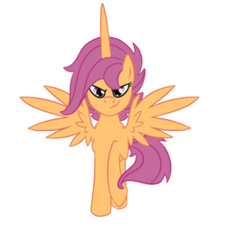 Size: 1600x1600 | Tagged: alicorn, alicornified, artist:pvt-llama, pony, race swap, safe, scootacorn, scootaloo, simple background, solo, transparent background