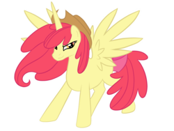 Size: 1600x1200 | Tagged: alicorn, alicornified, apple bloom, applejack's hat, artist:pvt-llama, bloomicorn, cowboy hat, dead source, hat, pony, race swap, safe, simple background, solo, transparent background