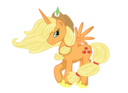 Size: 1100x800 | Tagged: alicorn, alicornified, applecorn, applejack, artist:pvt-llama, pony, race swap, safe, simple background, solo, transparent background