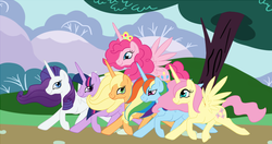 Size: 1900x1000 | Tagged: alicorn, alicornified, applecorn, applejack, artist:pvt-llama, everyone is an alicorn, female, fluttercorn, fluttershy, mane six, mane six alicorns, mare, pinkiecorn, pinkie pie, pony, race swap, rainbowcorn, rainbow dash, raricorn, rarity, safe, season 4, smile song, twilight sparkle, twilight sparkle (alicorn), xk-class end-of-the-world scenario