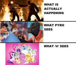 Size: 743x629 | Tagged: safe, human, /v/, meet the pyro, meta, team fortress 2