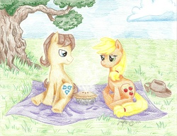 Size: 2201x1697 | Tagged: safe, artist:hahasauce, applejack, caramel, earth pony, pony, carajack, female, male, picnic, pie, shipping, straight