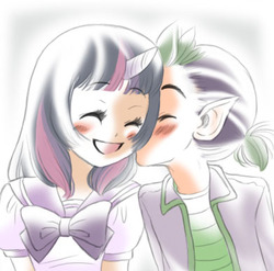 Size: 392x388 | Tagged: safe, artist:zoe-productions, spike, twilight sparkle, blushing, female, humanized, kissing, male, shipping, straight, twispike