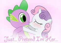 Size: 600x428 | Tagged: safe, artist:gimpcowking, spike, sweetie belle, blushing, female, implied rarity, kissing, male, shipping, spikebelle, straight