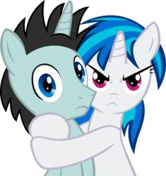 Size: 1123x1195 | Tagged: source needed, safe, artist:madmax, edit, dj pon-3, neon lights, rising star, vinyl scratch, pony, unicorn, angry, female, horn, hostage, hug, male, mare, mine!, missing accessory, possessive, shipping, simple background, stallion, straight, transparent background, vector, vinylights