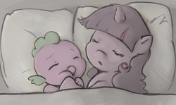 Size: 900x537 | Tagged: safe, artist:luna-sedata, spike, twilight sparkle, baby, baby dragon, baby spike, bed, cute, filly twilight sparkle, mama twilight, sleeping, younger