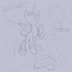 Size: 900x900   Tagged: safe, artist:snowseed, artist:tomatocoup, nightmare moon, cookie, cute, fangs, filly, food, monochrome, open mouth, prone, raised hoof, sketch, sketch dump, smiling, smirk, solo, spread wings, younger