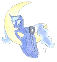 Size: 900x988 | Tagged: artist:jhyrachy, crescent moon, moon, princess luna, safe, sleepy, solo, tangible heavenly object