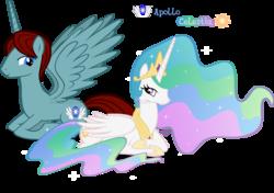 Size: 900x635 | Tagged: safe, artist:lisajennifer, princess celestia, oc, alicorn, pony, alicorn oc, canon x oc, female, male, princess, shipping, simple background, straight, transparent background