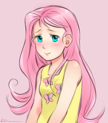 Size: 973x1112 | Tagged: artist:magicalondine, cutie mark on clothes, fluttershy, humanized, safe, solo