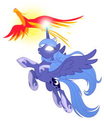 Size: 3100x3600 | Tagged: safe, artist:equestria-prevails, philomena, princess luna, alicorn, phoenix, pony, :o, duo, female, flying, frown, glow, glowing eyes, glowing horn, high res, long mane, magic, mare, open mouth, pet, s1 luna, simple background, spread wings, transparent background, vector, white eyes, windswept mane, wings