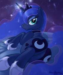 Size: 674x797 | Tagged: safe, artist:brianblackberry, princess luna, alicorn, pony, both cutie marks, butt, female, looking at you, looking back, lying down, mare, moonbutt, on side, plot, rear view, seductive, solo, space, underhoof