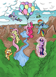 Size: 611x841 | Tagged: safe, artist:senselesssquirrel, applejack, fluttershy, pinkie pie, rainbow dash, rarity, spike, tank, twilight sparkle, dragon, earth pony, pegasus, pony, tortoise, unicorn, :d, artificial wings, augmented, balloon, eyes closed, female, floating, floppy ears, flying, forest, grin, levitation, magic, magic wings, male, mane seven, mane six, mare, mountain, mountain range, mouth hold, open mouth, pointing, raised eyebrow, reaching, river, self-levitation, smiling, smirk, spread wings, tail, tail pull, telekinesis, then watch her balloons lift her up to the sky, tree, underhoof, unicorn twilight, wide eyes, wings