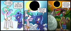 Size: 1500x656 | Tagged: safe, artist:madmax, princess celestia, princess luna, alicorn, pony, comic, eclipse, filly, mayan, solar eclipse, woona