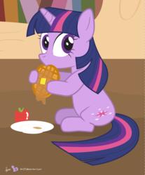 Size: 820x988 | Tagged: safe, artist:dm29, twilight sparkle, pony, unicorn, apple, cute, eating, female, food, looking at you, solo, unicorn twilight, waffle