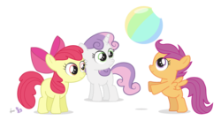 Size: 717x390 | Tagged: safe, artist:dm29, apple bloom, scootaloo, sweetie belle, earth pony, pegasus, pony, unicorn, ball, beach ball, cutie mark crusaders, female, filly, simple background, transparent background, trio