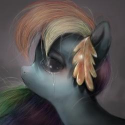 Size: 625x625 | Tagged: safe, artist:jcharlesmachiavelli, rainbow dash, pony, clothes, crying, dress, gala dress, sad, uncanny valley