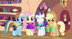 Size: 852x468 | Tagged: safe, screencap, applejack, fluttershy, rainbow dash, rarity, secret of my excess