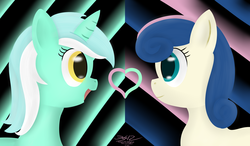 Size: 3600x2100 | Tagged: safe, artist:mikoruthehedgehog, bon bon, lyra heartstrings, sweetie drops, earth pony, pony, unicorn, eye contact, female, heart, high res, lesbian, looking at each other, lyrabon, mare, shipping, smiling