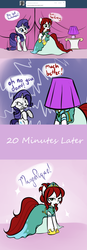 Size: 1184x3420 | Tagged: safe, artist:jessy, rarity, oc, oc:palette swap, earth pony, pony, unicorn, tumblr:ask palette swap, clothes, comic, dress, female, floppy ears, gritted teeth, hat, hooves, horn, jewelry, lampshade, lampshade hat, mare, speech bubble, tiara