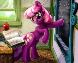 Size: 2000x1629 | Tagged: safe, artist:harwick, cheerilee, earth pony, pony, apple, bipedal, book, chalk, chalkboard, classroom, female, mare, mouth hold, physics, ponyville schoolhouse, reading, school, solo, table, teaching, window, working, writing