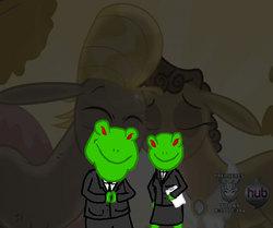 Size: 862x720 | Tagged: safe, cranky doodle donkey, matilda, donkey, frog, cannot unsee, crankilda