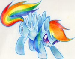 Size: 809x638 | Tagged: safe, artist:delico, rainbow dash, pegasus, pony, female, pixiv, sassy, solo, traditional art