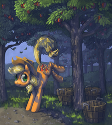 Size: 800x888 | Tagged: safe, artist:dimespin, applejack, earth pony, pony, apple, apple tree, applebucking, balancing, basket, buck, bucket, bucking, featured image, female, grass, kicking, leaves, orchard, smiling, solo, tree