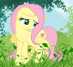 Size: 1500x1389 | Tagged: dead source, safe, artist:illuminatiums, fluttershy, pegasus, pony, cute, female, floppy ears, head turn, insecure, lonely, looking down, mare, nature, sad, shyabetes, solo, spread wings, wings, wings down