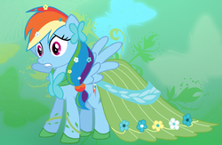 Size: 2000x1305 | Tagged: safe, artist:illuminatiums, rainbow dash, pegasus, pony, abstract background, beautiful, clothes, clothes swap, costume swap, dress, embarrassed, female, gala dress, implied fluttershy, mare, rainbow dash always dresses in style, show accurate, solo, spread wings, wings