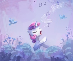 Size: 1724x1437 | Tagged: safe, artist:holivi, sweetie belle, bird, pony, unicorn, cute, diasweetes, eyes closed, female, filly, music, raised hoof, singing, solo