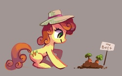 Size: 3433x2155 | Tagged: safe, artist:holivi, carrot top, golden harvest, earth pony, pony, carrot, cute, cutie top, eyes on the prize, female, happy, hat, high res, mare, simple background, solo