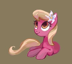 Size: 2581x2299 | Tagged: safe, artist:holivi, lily, lily valley, earth pony, pony, female, happy, high res, looking up, mare, prone, simple background, solo