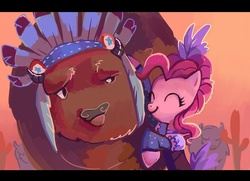 Size: 1264x916 | Tagged: safe, artist:holivi, chief thunderhooves, pinkie pie, buffalo, earth pony, pony, over a barrel, cactus, clothes, eyes closed, female, hug, male, mare, saloon dress, saloon pinkie